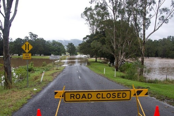 Flooded road in Australia